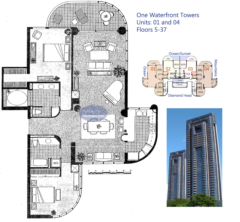 One waterfront towers honolulu hawaii condo by for 4 unit condo plans