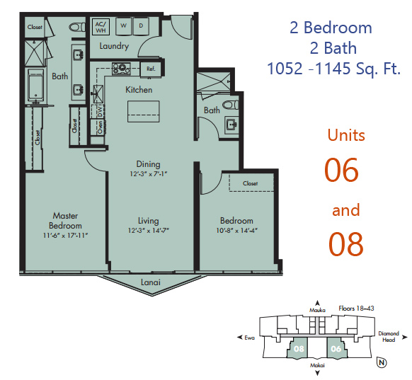 Comments: Floors 8 17: Smaller 1052 S.f. Layout And No Lanai. Floors 18 29:  28 Square Foot Lanai. Floors 30 41: 40 Square Foot Lanai.