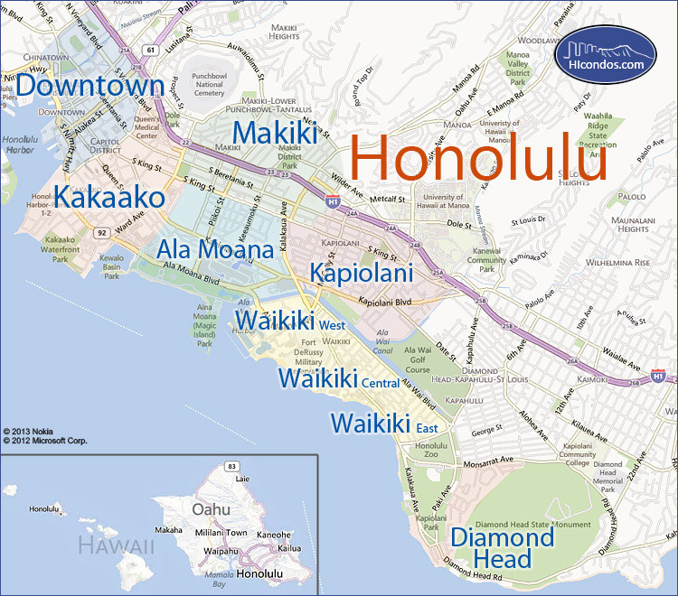 honolulu condo map honolulu oahu hawaii