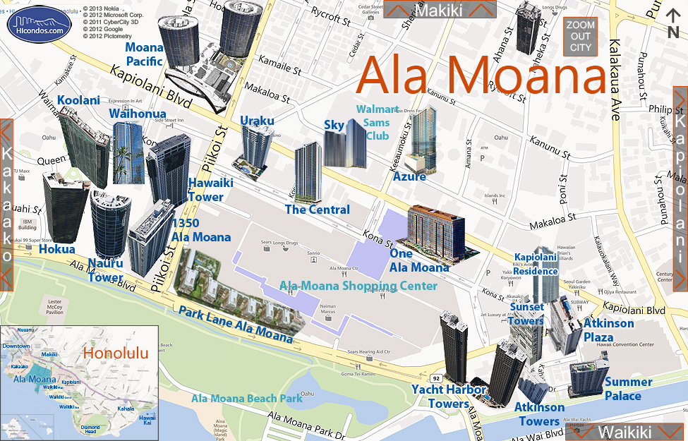 Ala moana condo map honolulu oahu hawaii ala moana condos honolulu hawaii condo map gumiabroncs Gallery