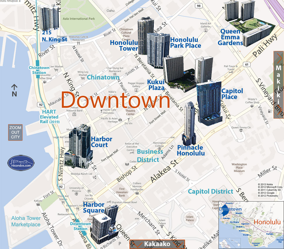 Downtown Condo Map Honolulu Oahu Hawaii