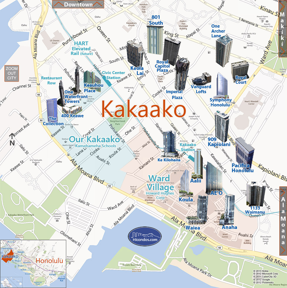 kakaako condo map honolulu oahu hawaii