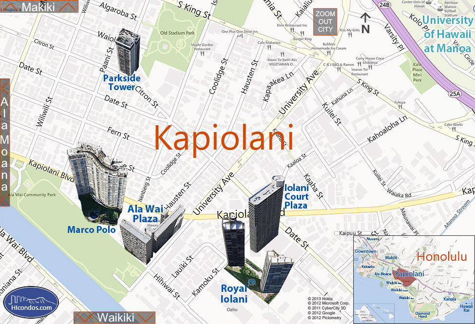 Kapiolani Condos: Honolulu, Hawaii Condo Map