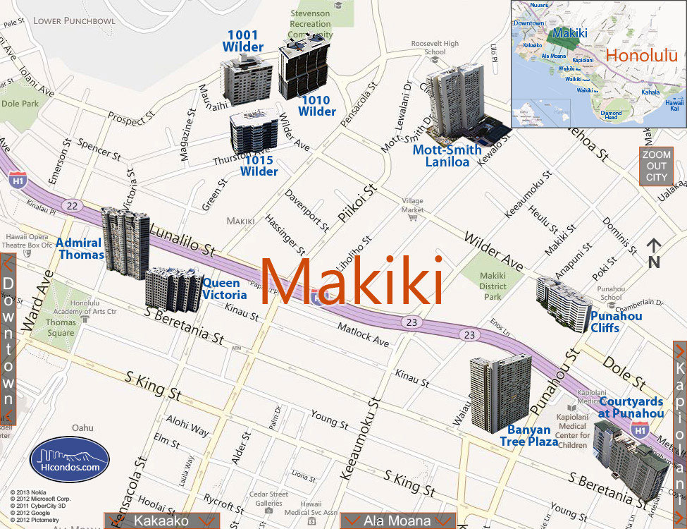 Makiki Condo Map Honolulu Oahu Hawaii